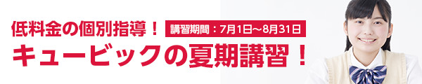 低料金の個別指導!キュービックの夏期講習! 講習期間:7/1~8/31