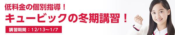低料金の個別指導!キュービックの冬期講習! 講習期間:12/25(火)~12/28(金)、1/4(金)〜1/7(月)